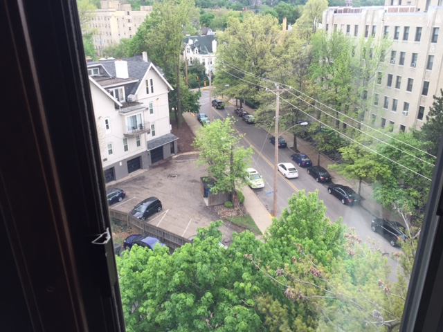 View from my 7th floor room in an airbnb townhouse rental.
